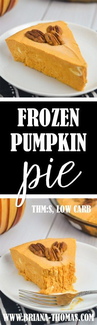 Frozen Pumpkin Pie - no ice cream maker required! - It legit tastes like the inside of a pumpkin pie, with more pumpkin and less spice.  My sister Katelyn says it tastes like the candle section at Hobby Lobby smells. - THM:S - low carb - low glycemic - sugar free - gluten free - egg free - Trim Healthy Mama friendly - recipe video in post!