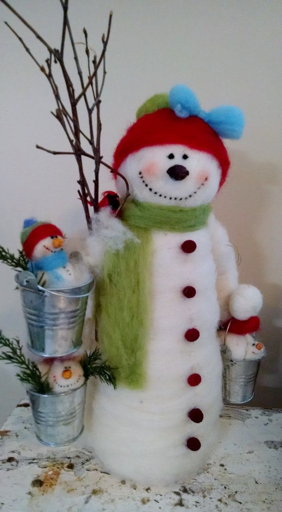 Snowy Buckets Felted Wool Snowman 15 Tall  NEW by WhimsicalWoolies