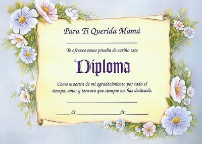 Diplomas para mamá para imprimir | Imagenes para imprimir.Dibujos para imprimir                                                                                                                                                                                 Más