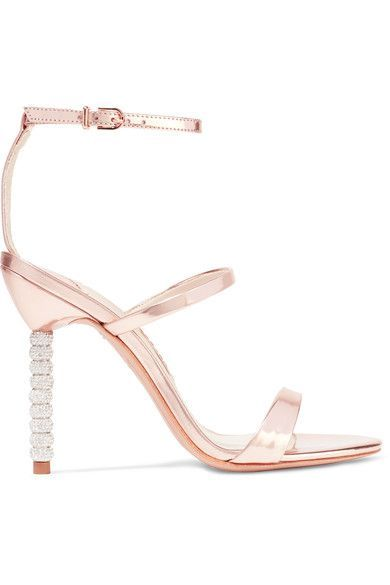 Crystal-embellished heel measures approximately 100mm/ 4 inches Rose gold leather Buckle-fastening ankle strapSmall to size. See Size & Fit notes.