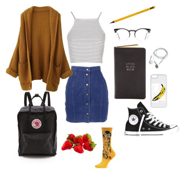 """art hoe @ school"" by studiomag ❤ liked on Polyvore featuring Thierry Mugler, Topshop, Converse, Fjällräven, Spitfire, CellPowerCases and HOT SOX"