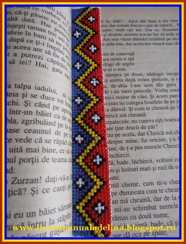lucru manual adelina: Semn de carte Tricolor etamina