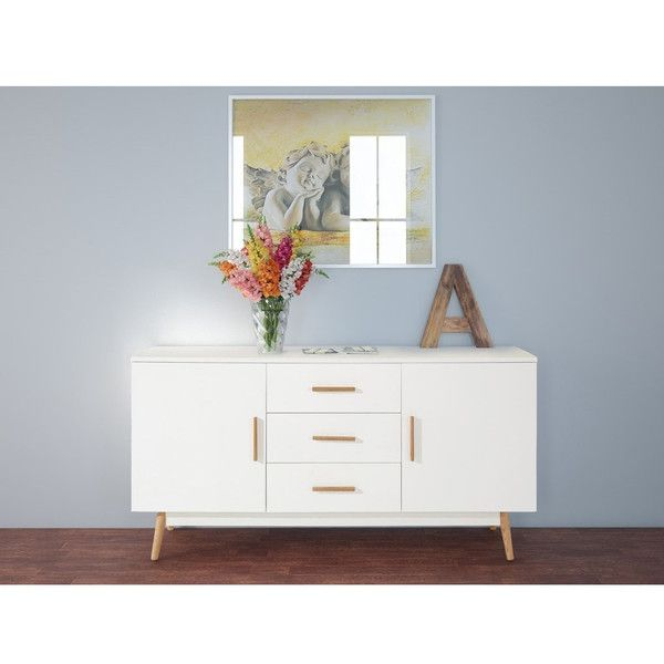 Scandinavian Lifestyle Texas Sideboard featuring polyvore, home, furniture, storage & shelves, sideboards, white, white shelf, storage shelves, white media storage cabinet, media storage cabinet and white sideboards