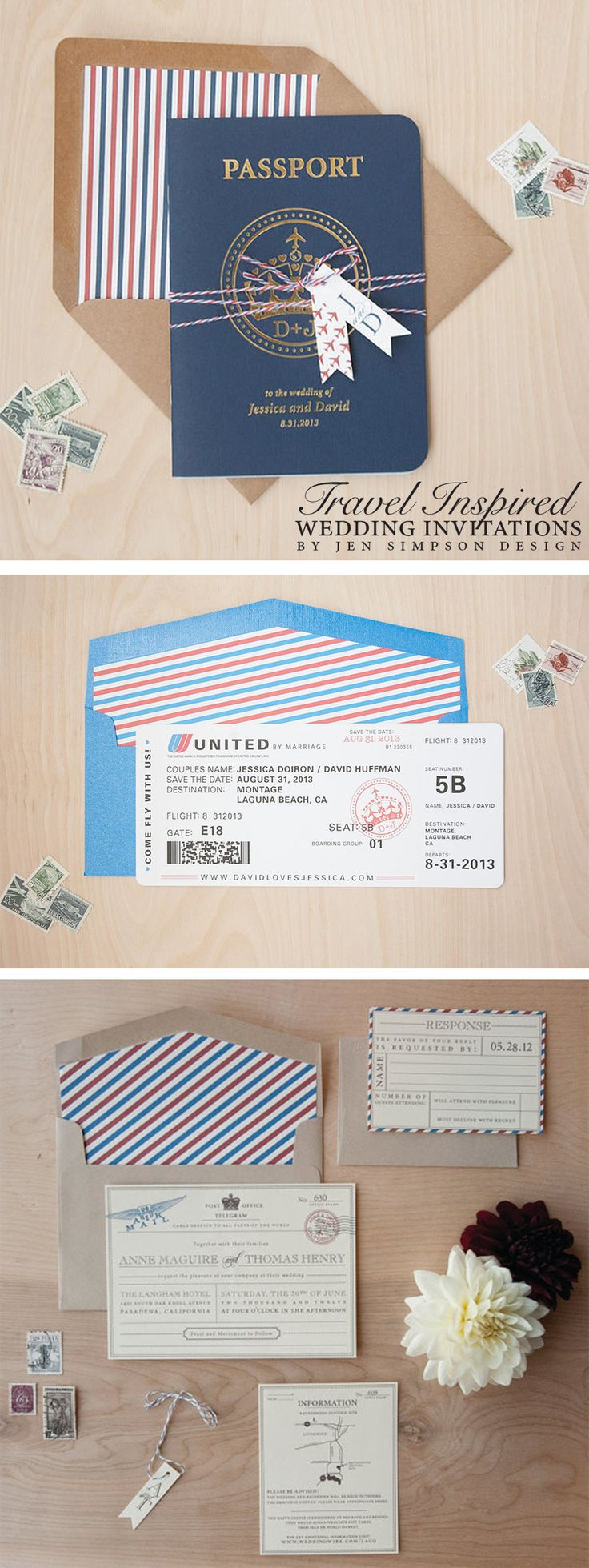 Travel inspired wedding invitations! Perfect for a destination wedding. Design by Jen Simpson Design #DestinationWedding