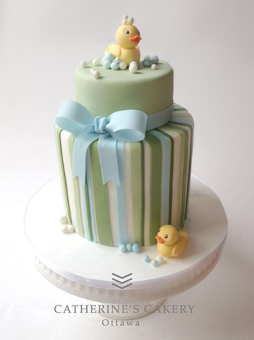 Green and blue baby shower cake (minus the ducks)