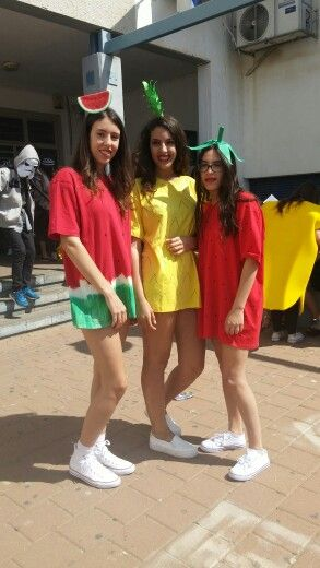 Fruits costume  DIY watermelon pineapple & strawberry costume.  Made out of T-Shirts (XXL)