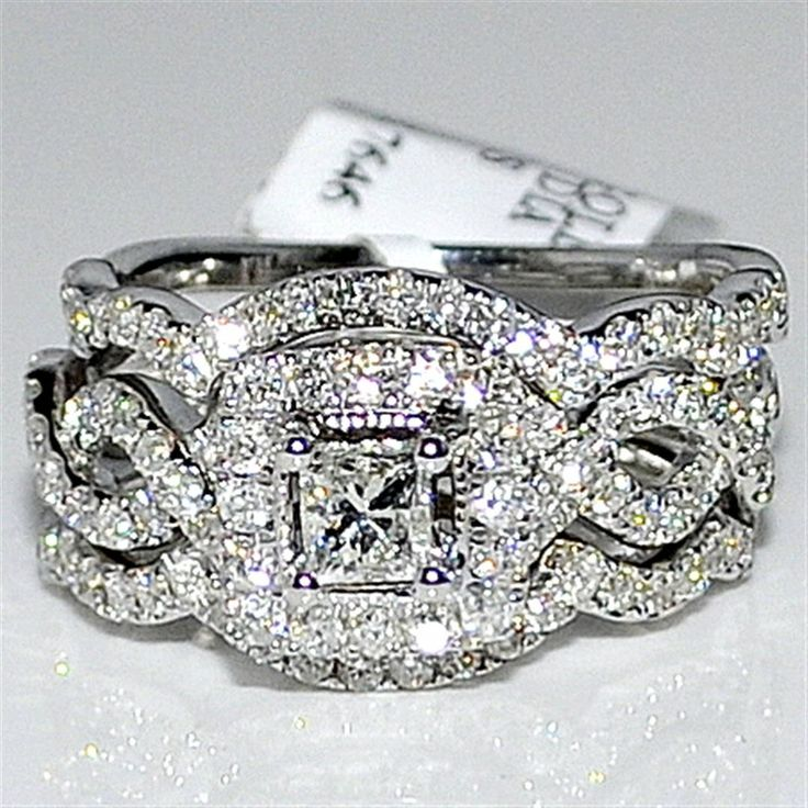 Princess cut wedding set Engagement Ring & 2 matching bands unique vintage inspired 1.4ct