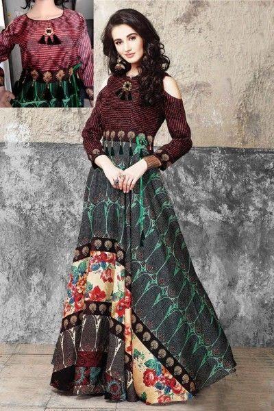 f95312e06aa Indian Bollywood Designer indo western gown Kurta Kurti women ethnic dress  -sr08  Handmade  SalwarKameez  partywear