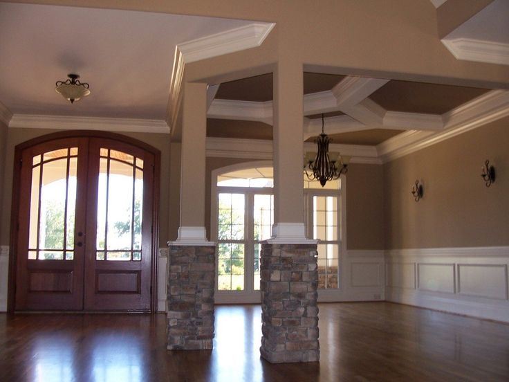 Luxury Country House Interior Plan With Beige Wall Paint With White Painted  Wood Wall Panels U0026 Ceiling With Stone Bricks Lower Half Columns U0026 Wood U2026