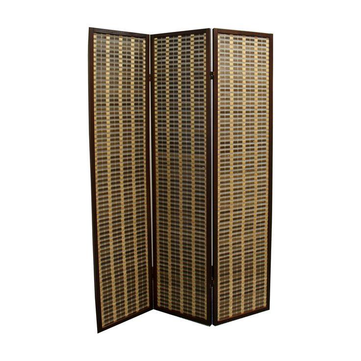 3 Panel Room Divider Dark Walnut (Brown) - Ore International
