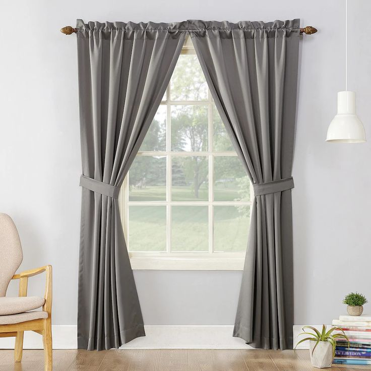 "Room Darkening Curtains NEW Set of 2 37"" Panels & Ties 74X84 Gray Sun Zero 37 84 #SunZero BRAND NEW 2-pack of gray Sun Zero Essex curtains with 2 tie backs, rod pocket, and a woven solid design. They are 100% polyester. Panels are 37X84 each 74X84 total width #curtains #bedroom #bedroomdecor"
