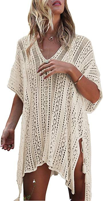 09c35e7888 Wander Agio Beach Swimsuit for Women Sleeve Coverups Bikini Cover Up Net  Slit Dark Beige at Amazon Women's Clothing store: