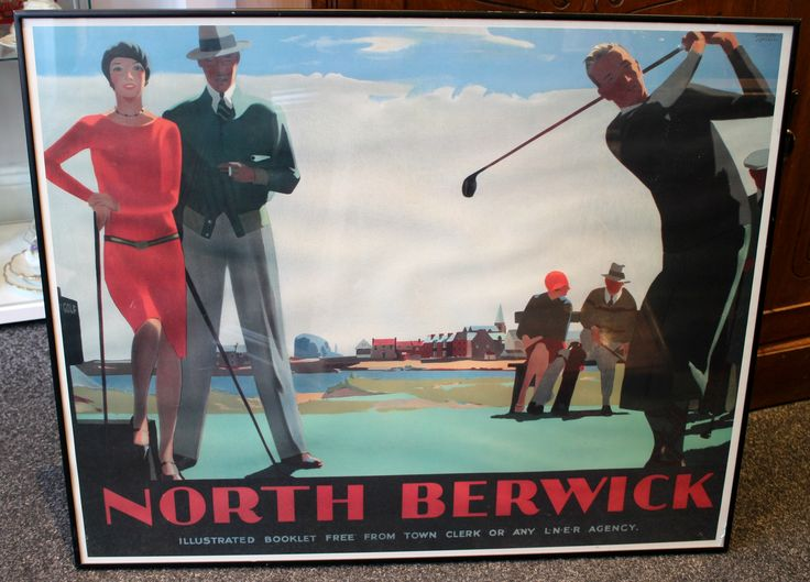 Reproduction Railway Poster for North Berwick by Andrew Johnson. Scene is of 1930's golfers on a course. Nice, vibrant colours. Framed size measures 30 inches by 24.5 inches.
