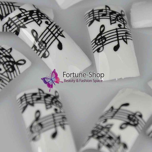 100 PCS Moda Beleza Nail Art Tips Preto Branco Da Nota da Música pré dicas de Design de Unhas de Acrílico Ponta do Prego Francês Falso Dicas NOVO F355