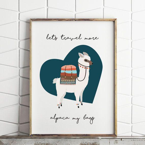 70% OFF SALE alpaca print, llama print, alpaca my bags decor, alpaca printable, alpaca wall decor, digital download