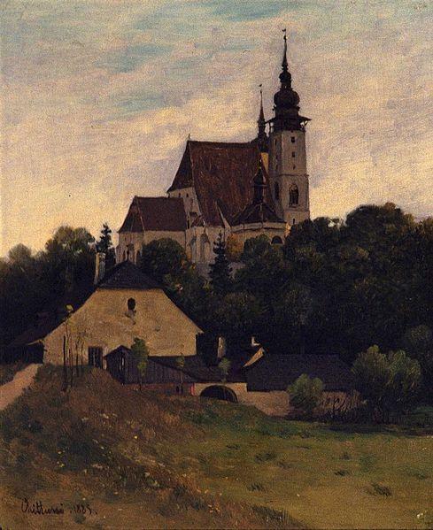 ANTONÍN CHITTUSSI (1847-1891) - St.James church in Jihlava (1885)  #painting #art #Czechia