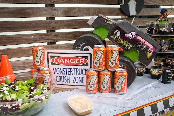 Crush Zone beverage table from a Monster Truck Birthday Party on Kara's Party Ideas | KarasPartyIdeas.com (10)