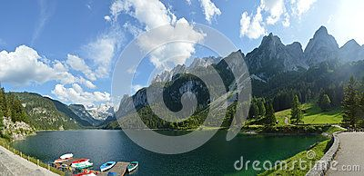 Beautiful mountains and lake of Austrian Alps in summer