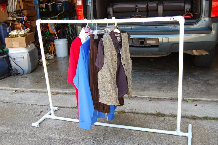 DIY PVC pipe portable clothes rack