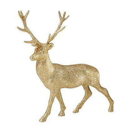 Party Porcelain Party Porcelain Glitter Reindeer, Gold