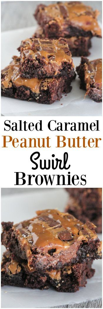 Salted Caramel Peanut Butter Swirl Brownies - Picky Palate