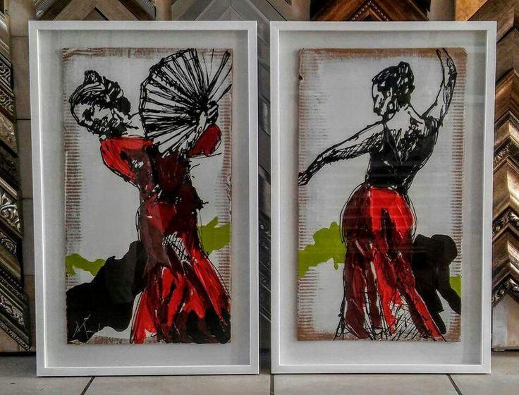 """""""for the-ané"""" acrylic on cardboard 840x530 each framed"""