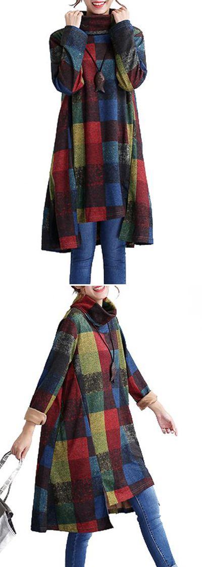 Long Sleeve Asymmetric Hem Plaid Print Shift Dress #christmas #Dress #fall #winter #womensfashion #shopping #plaid