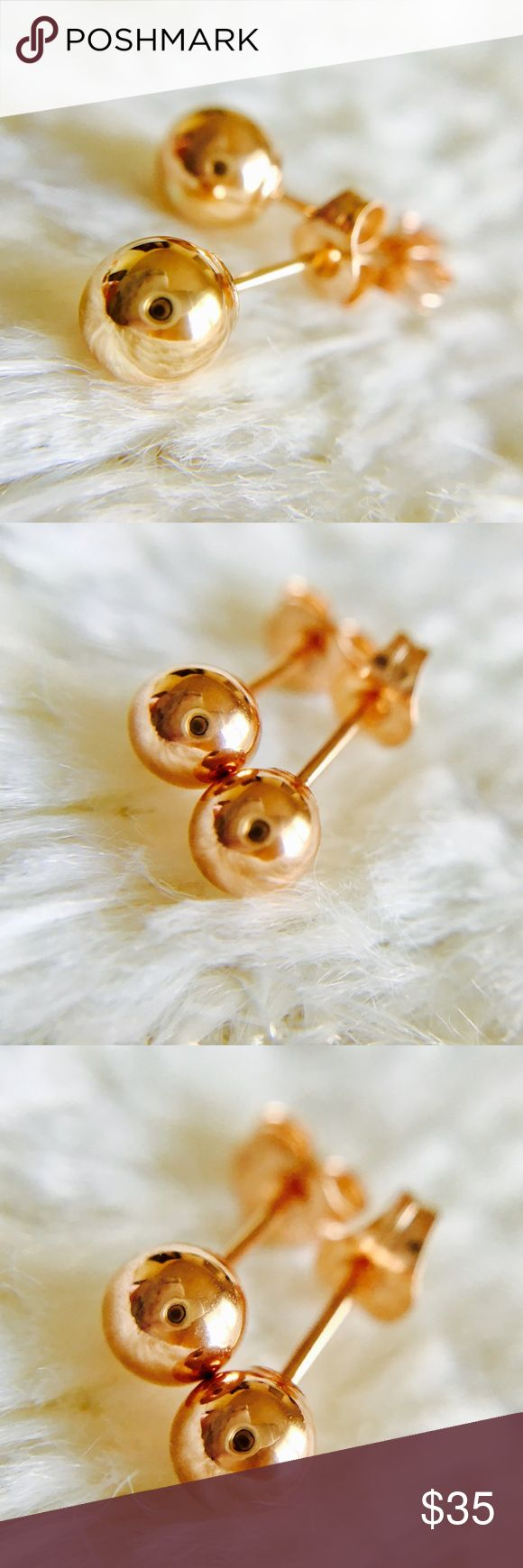 NEW🎉 14K Rose Gold 5mm Studs NEW Real solid 14K ROSE GOLD ball 5mm stud earrings! Comes in gift box, butterfly push backs. Stamped. Priced to sell, bundle and save! Jewelry Earrings