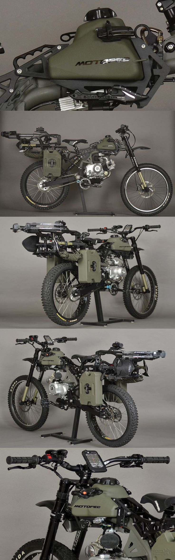 Motopeds Survival Bike is the Ultimate in Pedal-Power Adventuring. Do You Have Your Survival Gear Ready In A Bug Out Bag? Do You Have Your Gadgets And Tactical Weapons For A Major Emergency Or Event? The Apocalypse Might Not Be Coming But Emergency Preparedness For Camping, Hiking, Backpacking, And Fishing Are Important. What If Your Trip Takes An Unexpected Turn For The Worst? DIY And Homemade Tools, Weapons, And Cool Backpacks To Help You Be Survival Ready.