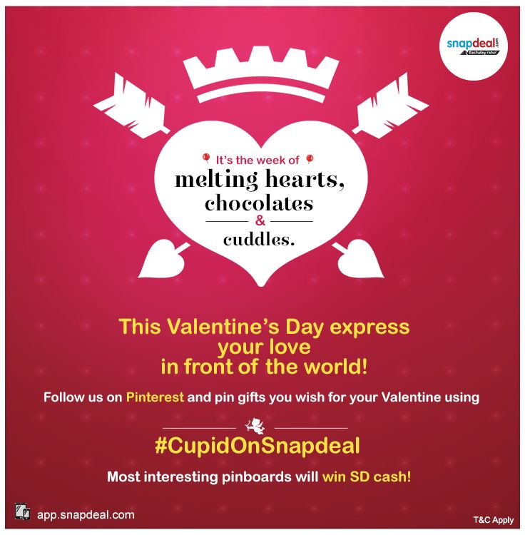 The Cupid has struck! Follow Snapdeal on Pinterest and participate in #CupidOnSnapdeal contest. 5 lucky winners will get SD cash!* *T&C Apply: blog.snapdeal.com...