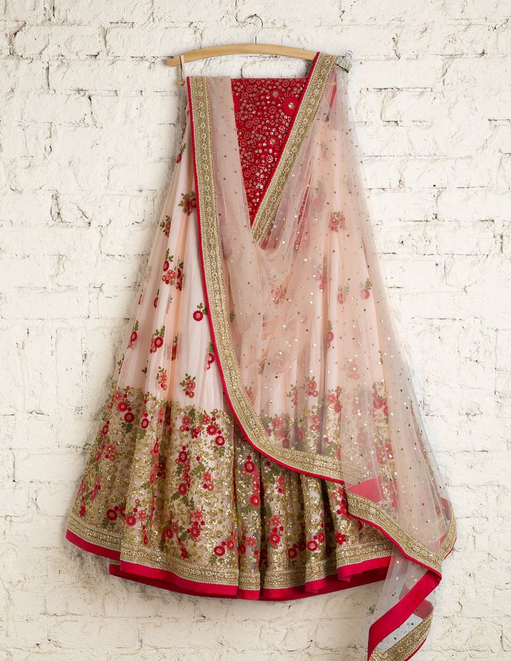 SwatiManish Lehengas | SMF LEH 103 17 | Peach tint heavy daman lehenga with coral thread work blouse