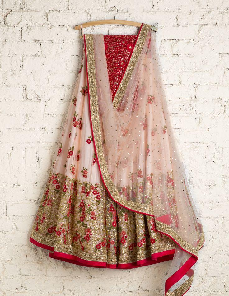 SwatiManish Lehengas | SMF LEH 103 17 | Peach tint heavy daman lehenga with coral thread work blouse
