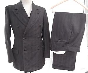 Vintage 1920s Suit 3 Piece Button Fly Dbl Breasted Hart Schaffner & Marx Size 38