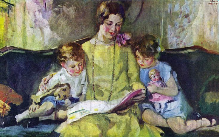 Scrumptious Hues of 1920s/30 Mother READING To Children. illustration reading - Pesquisa Google