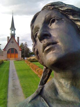 Close-up view of the statue of Evangeline Longfellow wrote his epic poem Evangeline:  A Tale of Acadie about the deportation of the Acadians from NS and the Grand-Pré area.