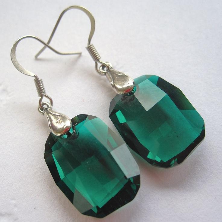 Emerald Green Swarovski earrings