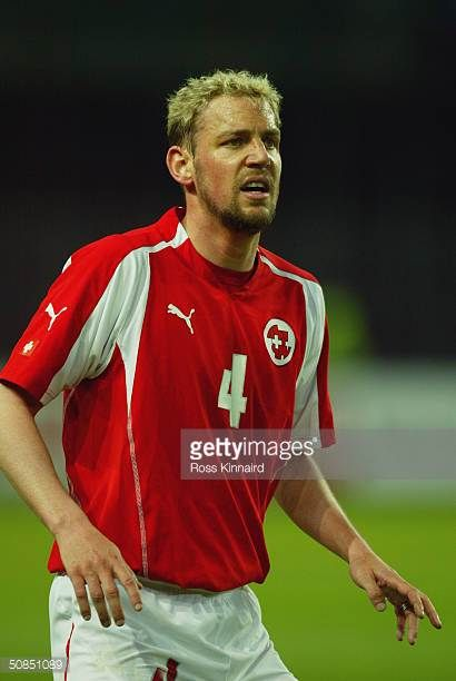 Stephane Henchoz of Switzerland in action during the Friendly International match between Switzerland and Slovenia at The Stade de Geneve on April 28...