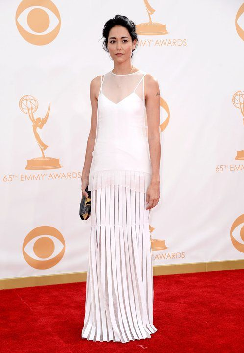 "Sandrine Holt at the Emmys wearing a Rafe ""Maryanne"" minaudière available @Neiman Marcus"