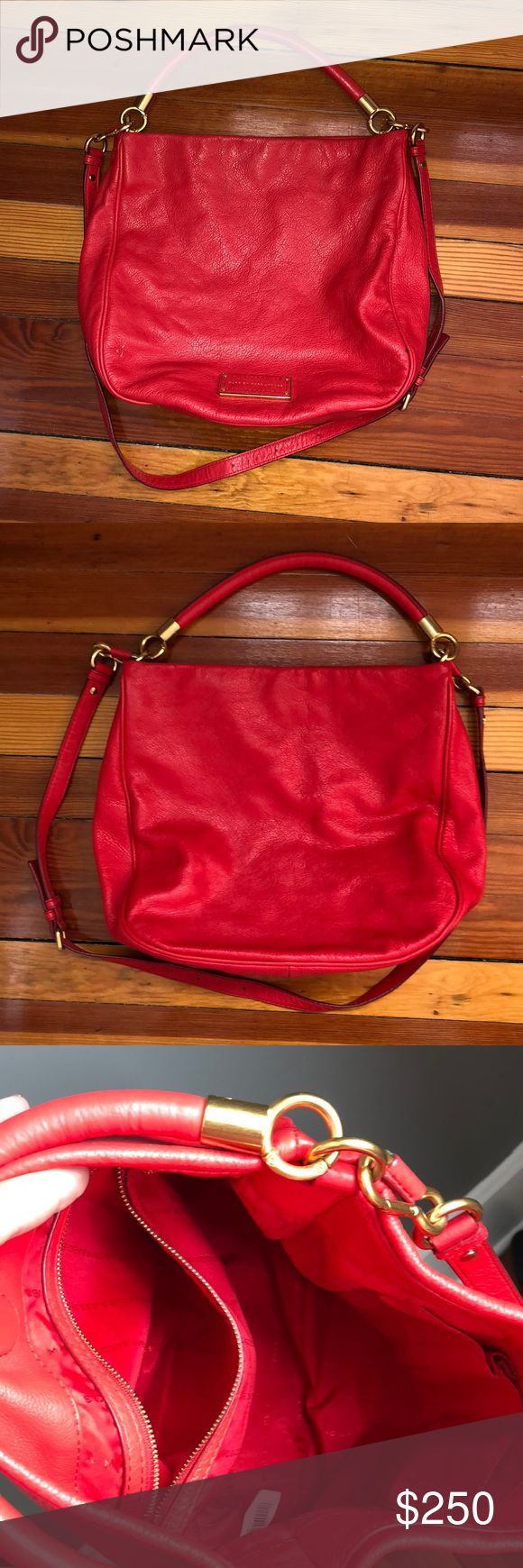 Marc Jacobs Red Leather Hobo Shoulder Bag Barely used Marc by Marc Jacobs Too Hot to Handle red genuine leather hobo shoulder bag. Only defects are pictured. Marc Jacobs Bags Shoulder Bags