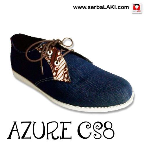 Azure Denim CS8 | Sepatu Kasual Pria -   Sepatu kasual pria dengan model loafer berbahan denim gelap dengan paduan batik berwarna coklat, ringan dan nyaman dikenakan sehari-hari pada acara kasual Anda.