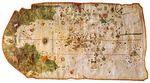 Map of Juan de la Cosa, shown rotated right (in the original manuscript north points left), 1500