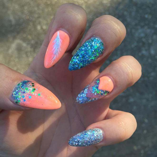 best style Peach Nail Art Designs 2017