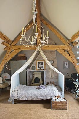 child's attic room in restored Farmhouse in Loire