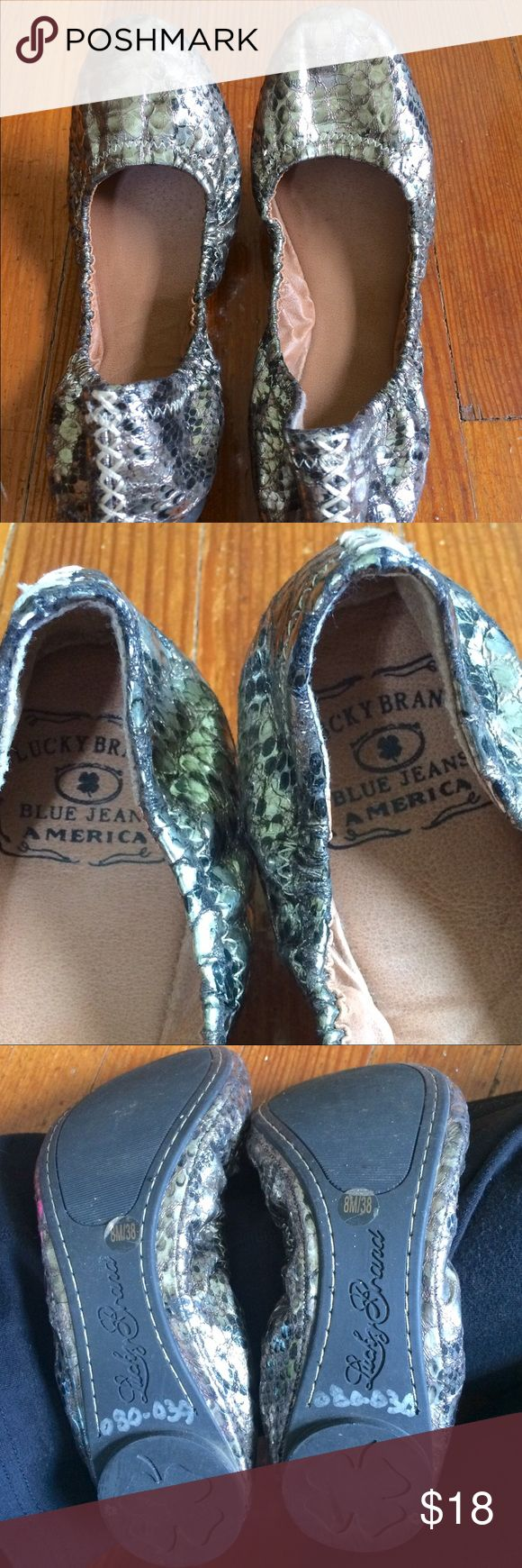 Lucky Brand leather gold metallic ballet flats Lucky Brand leather gold metallic snake print ballet flats, rounded toe, .40 heel height, gorgeous stitching inside and out, wore only a few times Lucky Brand Shoes Flats & Loafers