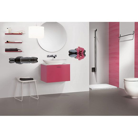 salle de bain moderne rose et blanche by novogres. Black Bedroom Furniture Sets. Home Design Ideas