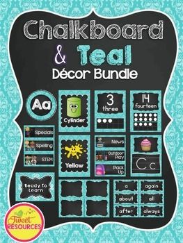 Teal and Chalkboard Classroom Decor BundleDecorate your classroom this year with…
