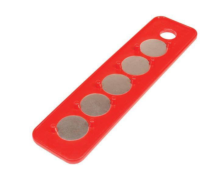 1/4 In. Drive 2-1/4 In. x 9 In. Red Magnetic Socket Holder Strip