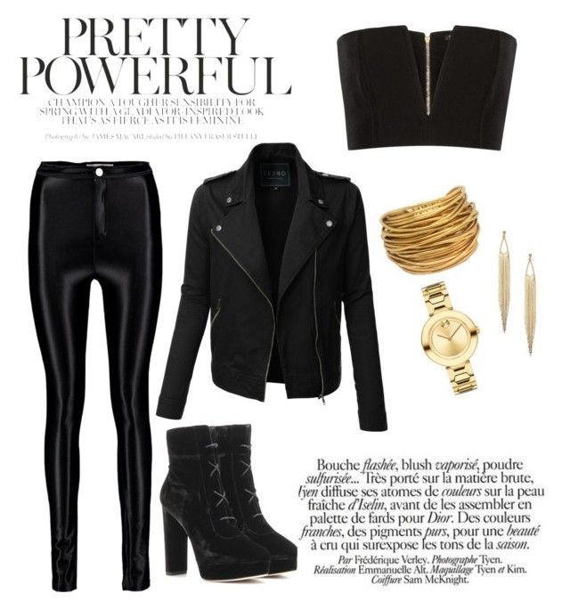 """""""Pretty Powerful"""" by kixkeen on Polyvore featuring Balmain, LE3NO, Jimmy Choo, Black & Sigi and Movado"""