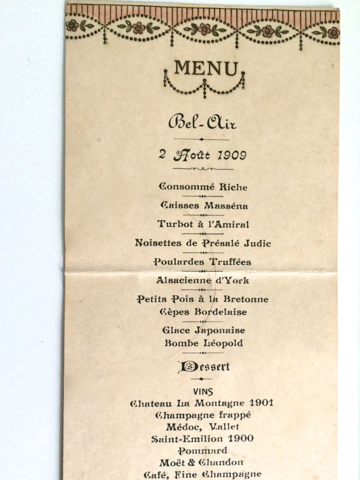ART DECO vintage French MENU 1909 Gastronomy Embossed Gold with - french menu