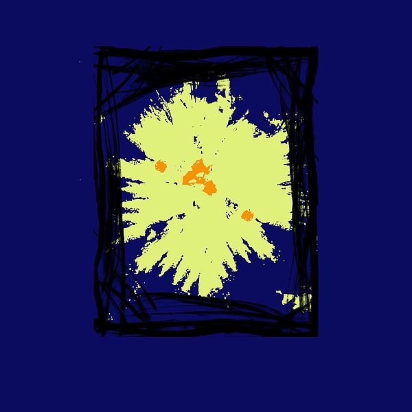 B4 - This is a abstract painting with frames and shapes in black with a pale yellow accent on a royal blue tone background. Ideal for interior decorating in any size or position in a home or office.